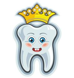 Smiling cartoon tooth with crown vector