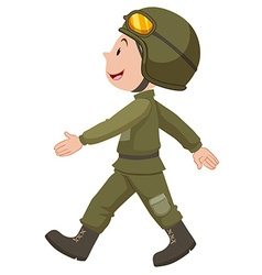 Soldier in green uniform walking vector