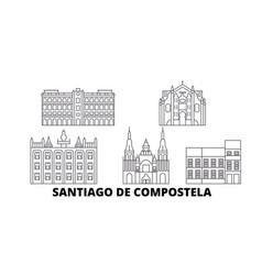 Spain santiago de compostela line travel skyline vector