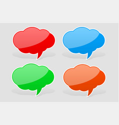 speech bubbles colored sticker labels with vector image