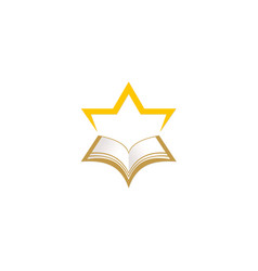 star open book education logo vector image