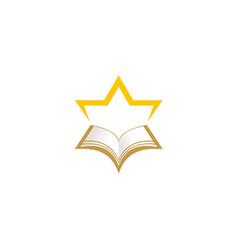 Star open book education logo vector