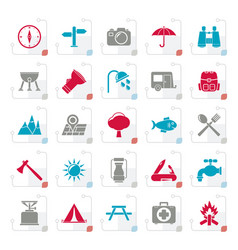 Stylized camping and tourism icons vector