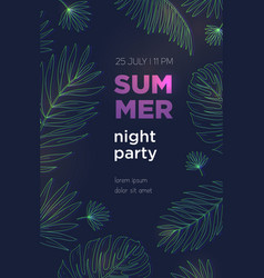 Summer night party poster template with palm vector