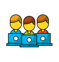 teamwork people avatars with laptops vector image