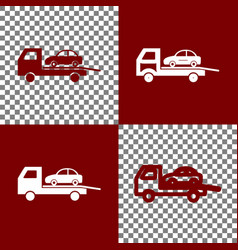 Tow car evacuation sign bordo and white vector