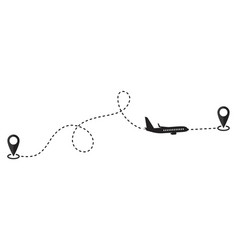 Travel plane start point and destination points vector