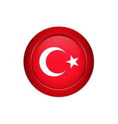 Turkish flag on round button vector