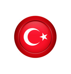 turkish flag on the round button vector image