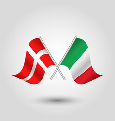 two crossed danish and italian flags on sil vector image vector image