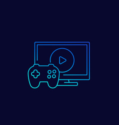 Video games icon with gamepad and tv linear vector