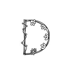 Vintage floral bold letter d logo spring classic vector