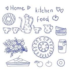 vintage kitchen set in vector image