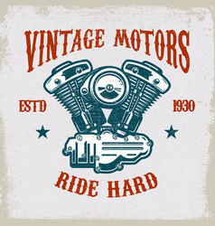 vintage motorcycle motor on grunge background vector image