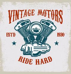 Vintage motorcycle motor on grunge background vector
