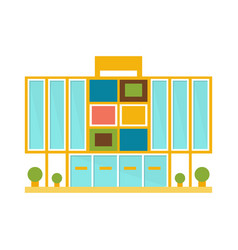 Weird minimalistic colorful shopping mall modern vector