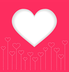 white heart valentine day with red background vector image