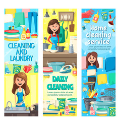 women with cleaning tools doing housework vector image