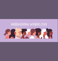 Womens day diverse women cartoon banner vector