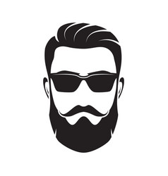 bearded men face hipster character vector image