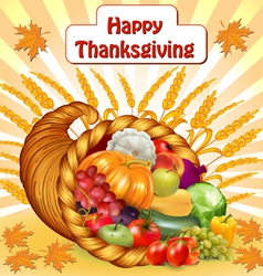 card for Thanksgiving with a cornucopia of fruits vector image