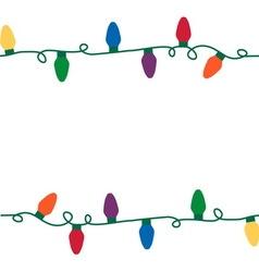 Christmas lights seamless string vector image