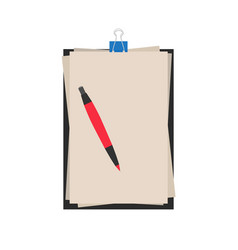 notebook pen paper icon writing background vector image
