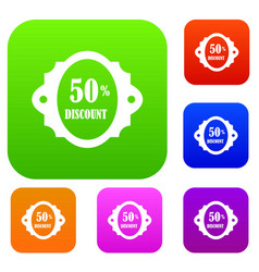 sale label 50 percent off discount set collection vector image