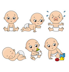 baby set in different poses such as standing vector image