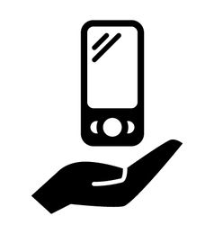 Smartphone on hand vector image vector image
