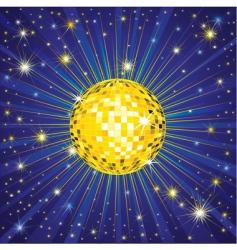 yellow shining disco ball vector image