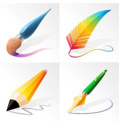 Drawing and Painting Tools vector image vector image