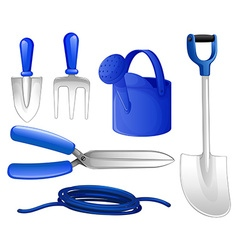 Gardening tools and hose vector image