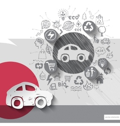 Paper and hand drawn car emblem with icons vector image vector image