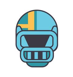 american football helmet flat line vector image vector image