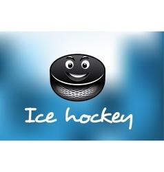 Cartoon ice hockey puck vector image vector image