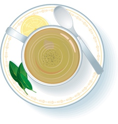 cup with green tea vector image vector image