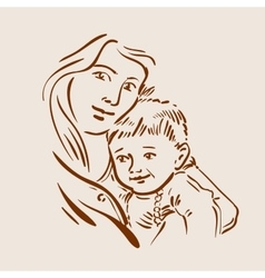 Hand drawn sketch young mother and child vector image vector image