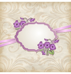 label with flowers vector image