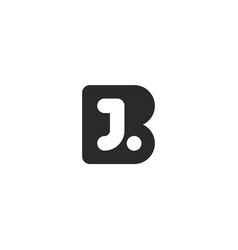 monogram logo made from black letters b and j vector image vector image