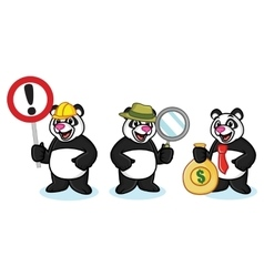 Panda Mascot with money vector image vector image