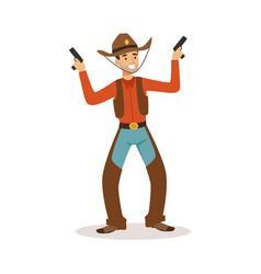 smiling cowboy holding his guns western cartoon vector image vector image