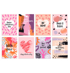 valentines day s card templates set vector image vector image