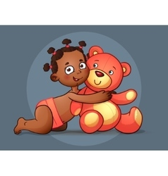 African American GIRL hugs Teddy Bear toy on vector