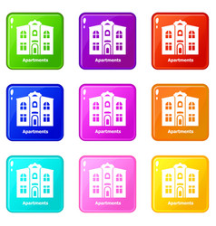 Apartments icons set 9 color collection vector