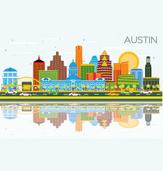 Austin texas skyline with color buildings blue vector