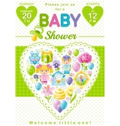Baby shower invitation design in unisex green vector image