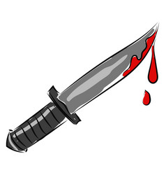 bloody knife on white background vector image