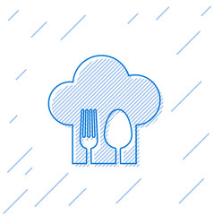 Blue line chef hat with fork and spoon icon vector
