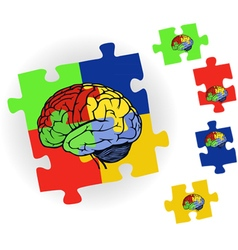 Brain in puzzle for web design vector